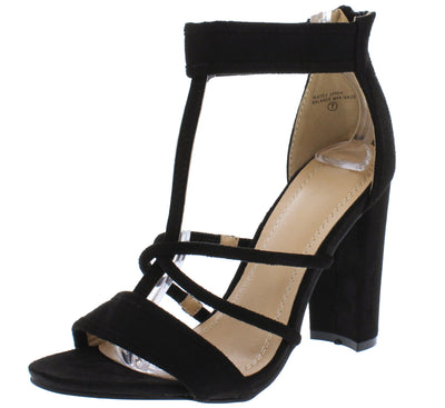 Arianna090 Black Strappy Open Toe T Strap Chunky Heel - Wholesale Fashion Shoes
