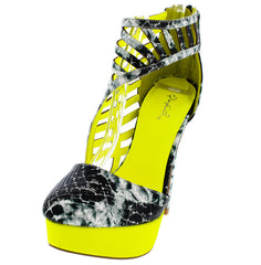 PERCH23 GREEN MULTI PYTHON CAGED SIDE HEEL - Wholesale Fashion Shoes