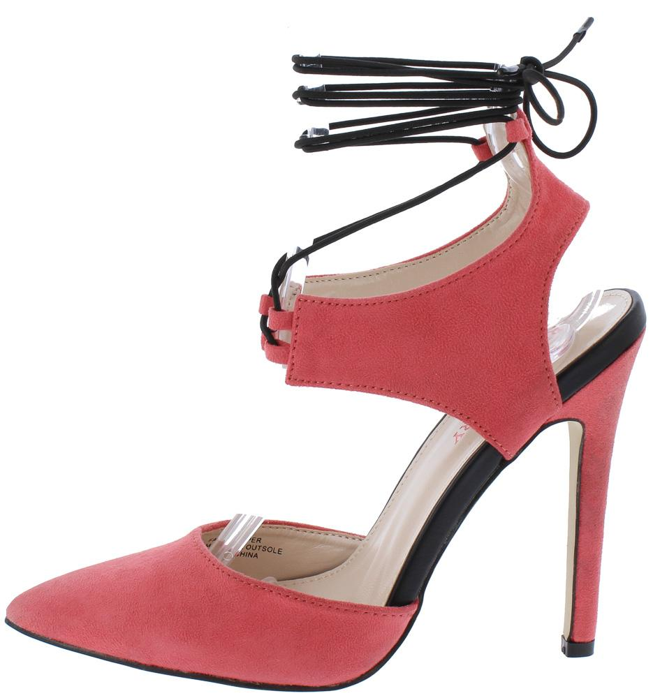 5703361b154 Perla01 Pink Pointed Toe Cut Out Ankle Wrap Heel - Wholesale Fashion Shoes