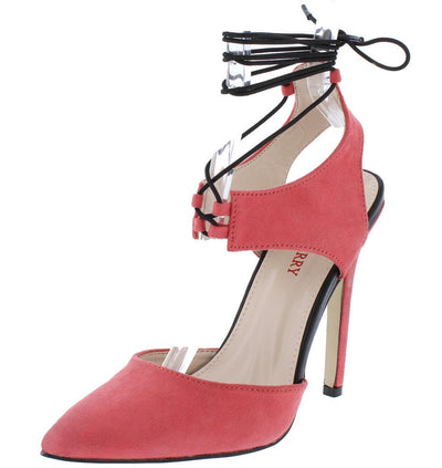 Perla01 Pink Pointed Toe Cut Out Ankle Wrap Heel - Wholesale Fashion Shoes