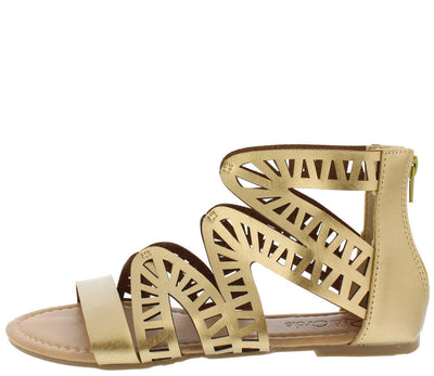 Perla Gold Laser Cut Strappy Open Toe Flat Sandal - Wholesale Fashion Shoes