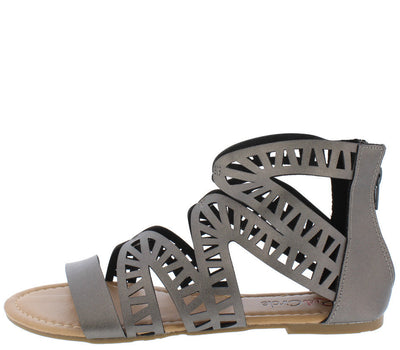 Perla Pewter Laser Cut Strappy Open Toe Flat Sandal - Wholesale Fashion Shoes