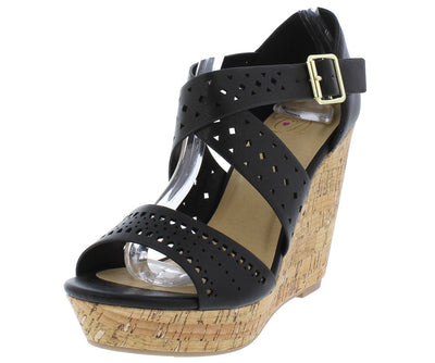 Person Black Open Toe Laser Cut Cross Band Cork Wedge - Wholesale Fashion Shoes