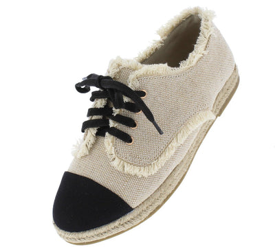 Phuket11 Natural Black Round Toe Frayed Braided Lace Up Flat - Wholesale Fashion Shoes