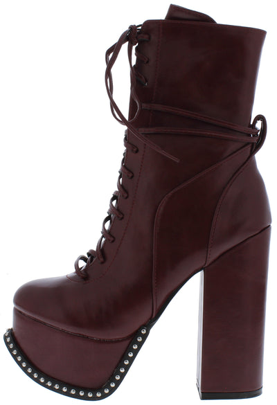 Emily175 Burgundy Lace Up Studded Platform Boot - Wholesale Fashion Shoes