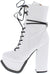 Emily175 White Lace Up Studded Platform Boot