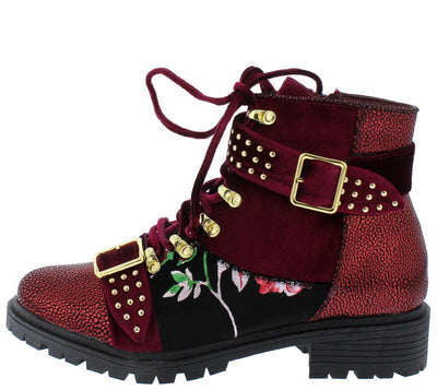 Pierre Wine Stud Buckle Floral Lace Up Boot - Wholesale Fashion Shoes