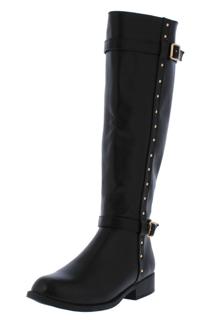ab9bdf3d Pilot54s Black Dual Buckle Studded Knee High Boot