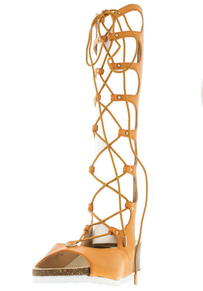 Stefania Tan Pu Lace Up Gladiator Distressed Wedge Boot - Wholesale Fashion Shoes