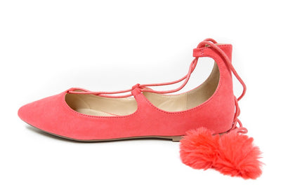 Pippa128a Hot Coral Pointed Toe Ghillie Lace Up Pom Pom Flat - Wholesale Fashion Shoes