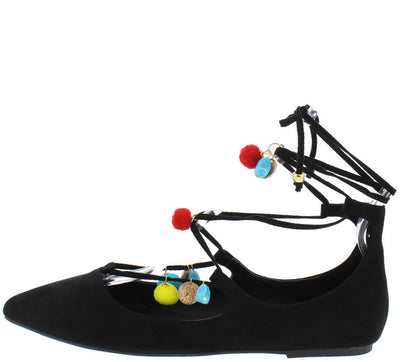 Pippa128b Black Venus Colorful Pom Pom Almond Toe Flat - Wholesale Fashion Shoes