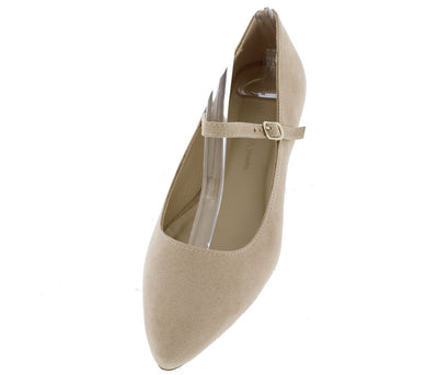 Pippa162 Natural Pointed Toe Single Strap Flat - Wholesale Fashion Shoes