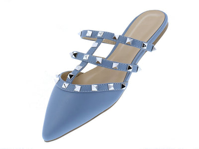 Pippa335b Blue Grey Cage Studded Pointed Toe Mule Flat - Wholesale Fashion Shoes