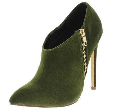 Sadie125 Olive Pointed Toe Slanted Ankle Collar Stiletto Boot - Wholesale Fashion Shoes