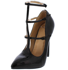 ALEXANDRA BLACK POINTED TOE TRIPLE STRAP HEEL - Wholesale Fashion Shoes