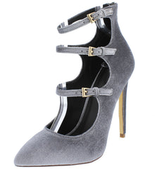 LUCY GREY VELVET POINTED TOE MULTI STRAP HEEL - Wholesale Fashion Shoes - 2