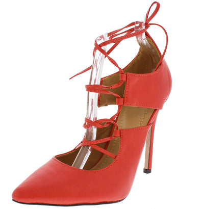 Clarissa Peach Pointed Lace Up Ankle Heel - Wholesale Fashion Shoes