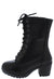 Plus571k Black Lace Up Chunky Lug Sole Kids Boot