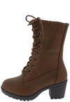 Plus571k Tan Lace Up Chunky Lug Sole Kids Boot - Wholesale Fashion Shoes