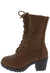 Plus571k Tan Lace Up Chunky Lug Sole Kids Boot