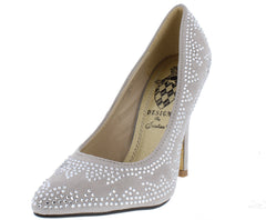 POINT4 SILVER POINTED TOE RHINESTONE STILETTO HEEL - Wholesale Fashion Shoes