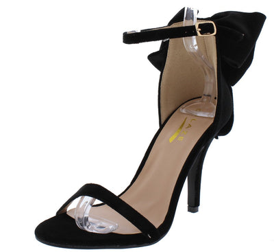 Poised2 Black Open Toe Ankle Strap Large Bow Heel - Wholesale Fashion Shoes