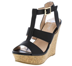 POLLYANNA11 BLACK OPEN TOE ANKLE STRAP CUT OUT CORK WEDGE - Wholesale Fashion Shoes