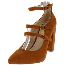 POPPI2 TAN POINTED TOE MULTI STRAP CHUNKY HEEL - Wholesale Fashion Shoes - 2
