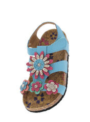 POPPY76KA BLUE FLOWER APPLIQUE INFANT SANDAL - Wholesale Fashion Shoes