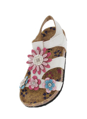 POPPY76KA WHITE FLOWER APPLIQUE INFANT SANDAL - Wholesale Fashion Shoes
