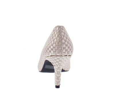 Portia28 Nude Woven Pointed Toe Slide On Pump Heel - Wholesale Fashion Shoes