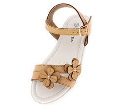 POWER72K BEIGE FLOWER LUG KIDS SANDAL - Wholesale Fashion Shoes