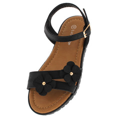POWER72K BLACK FLOWER LUG KIDS SANDAL - Wholesale Fashion Shoes