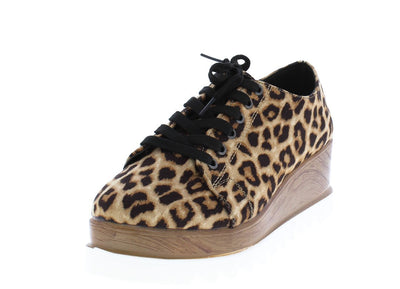Prado06 Camel Leopard Suede Pu Lace Up Oxford Wedge - Wholesale Fashion Shoes