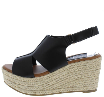 Prema02 Black Peep Toe Cut Out Slingback Espadrille Wedge - Wholesale Fashion Shoes