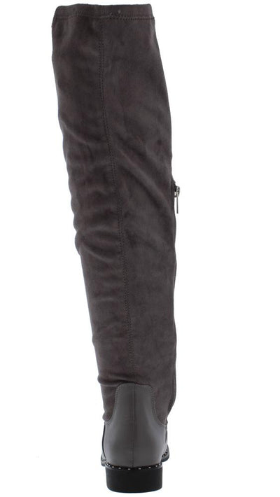 Preppy14m Grey Round Toe Over The Knee Boot - Wholesale Fashion Shoes