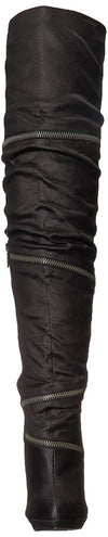 Aurora171 Black Over The knee Wrap Zipper Stiletto Boot - Wholesale Fashion Shoes