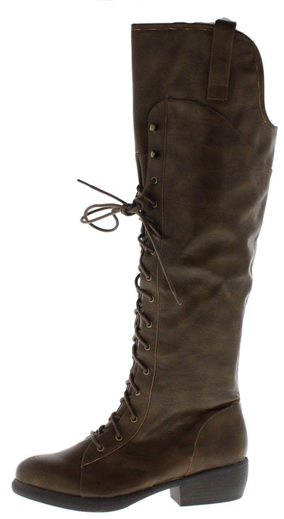 Prim6 Taupe Crinkle Pu Lace Up Riding Boot - Wholesale Fashion Shoes