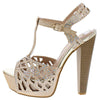 Priya19 Champagne Embellished Laser Cut Platform Heel - Wholesale Fashion Shoes