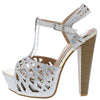 Priya19 Silver Embellished Laser Cut Platform Heel - Wholesale Fashion Shoes
