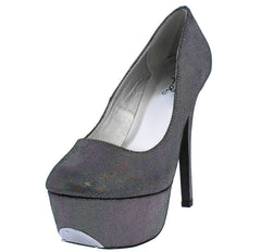 PSYCHE47A PEWTER IRIDESCENT PLATFORM PUMP HEELS - Wholesale Fashion Shoes