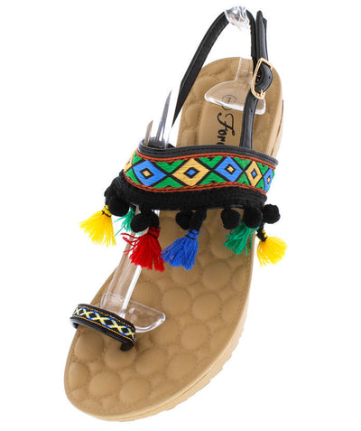 Puff3 Black Pom Pom Tassel Multi Color Toe Strap Sandal - Wholesale Fashion Shoes