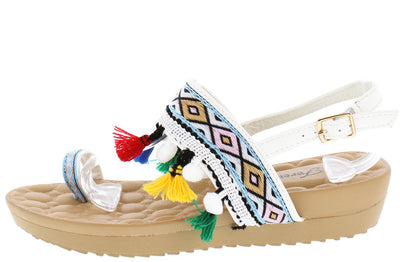 Puff3 White Pom Pom Tassel Multi Color Toe Strap Sandal - Wholesale Fashion Shoes