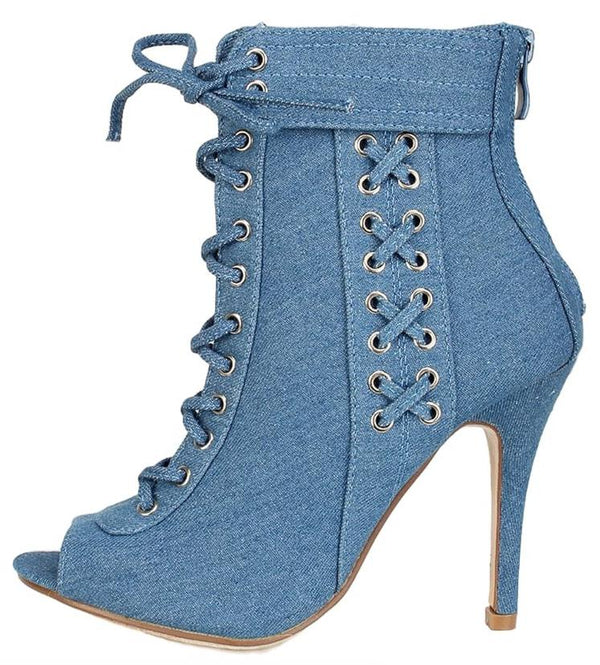 bab44df69ffd Quince16 Light Blue Denim Silver Lace Up Ankle Boot