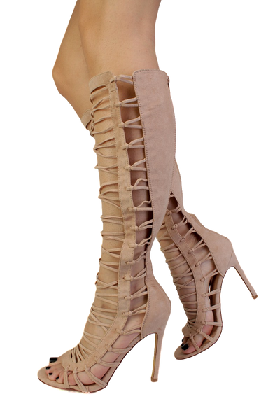 Quinn Nude Strappy Knee High Open Toe Stiletto Heel Boot - Wholesale Fashion Shoes