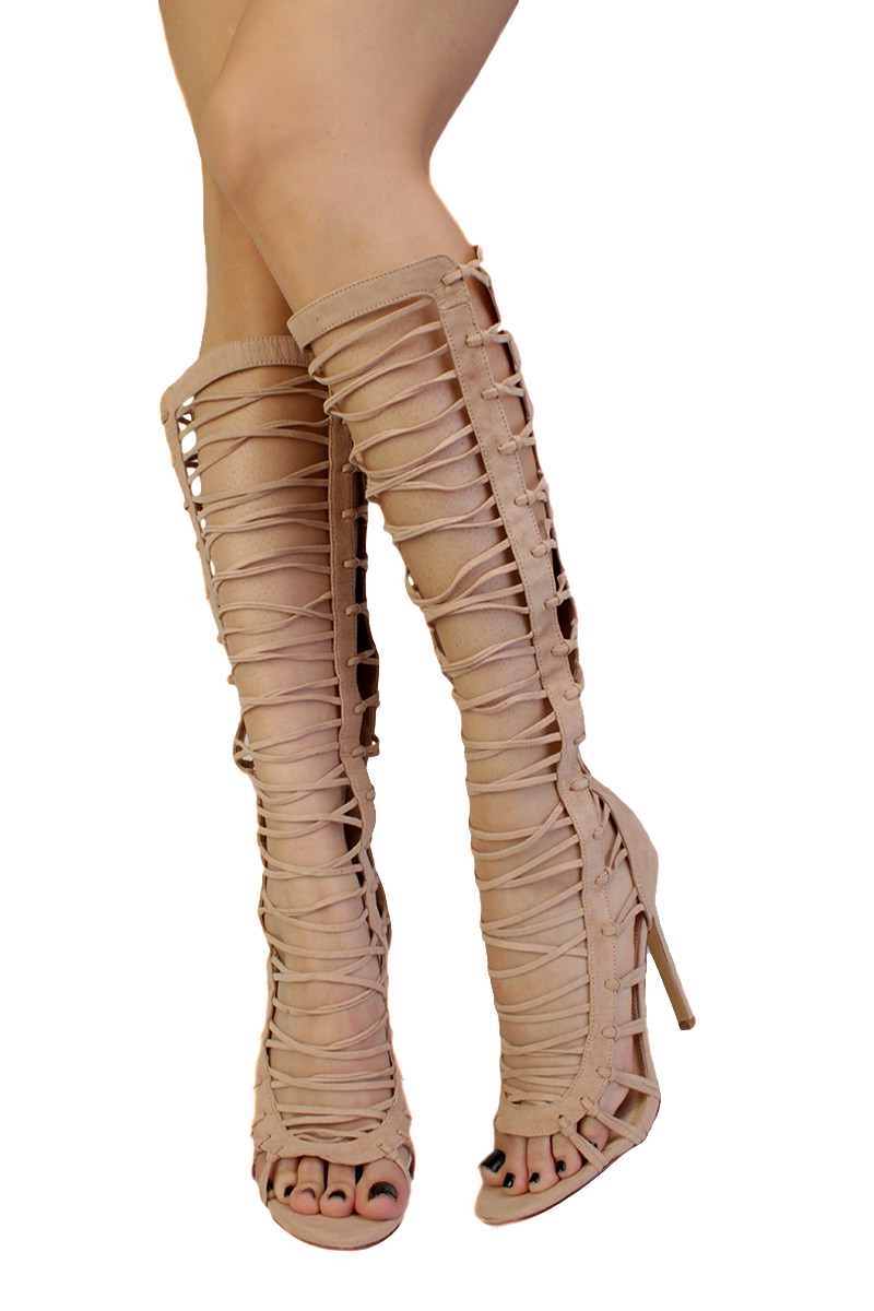 Quinn Nude Strappy Knee High Open Toe Heel Boots From 1288 - 2788 - Wholesale -6007