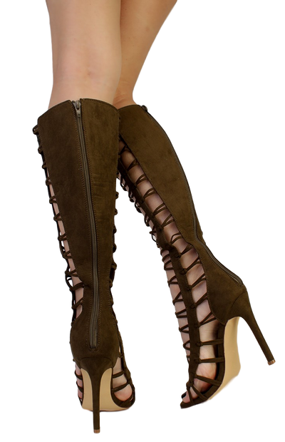 Quinn Olive Strappy Knee High Open Toe Stiletto Heel Boot - Wholesale Fashion Shoes