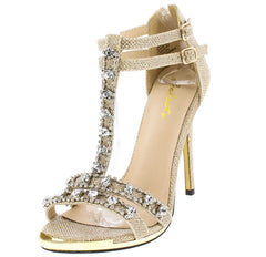 QUEENY03 GOLD METALLIC TEXTURED T-STRAP RHINESTONE GOLD CAPPED TOE HEEL - Wholesale Fashion Shoes - 2