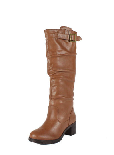 Quentin11 Chestnut Block Heel Riding Boot - Wholesale Fashion Shoes