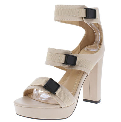 Leo200 Nude Open Toe Tri Clip Strap Tall Platform Heel - Wholesale Fashion Shoes